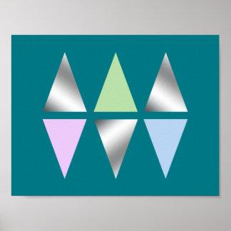 Poster triangles géométriques d'argent clair élégant de