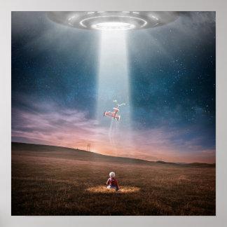 Poster Tricycle drôle d'abduction d'UFO