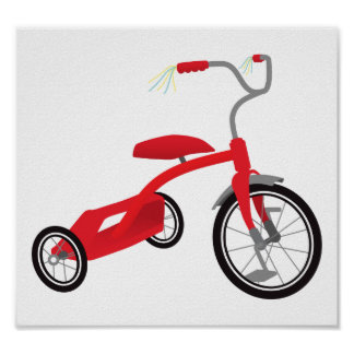 Poster Tricycle rouge graphique