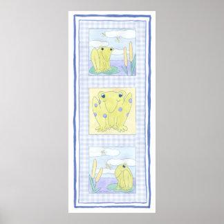 Poster Trio de grenouille sur le tissu de guingan