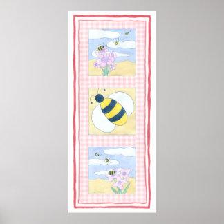 Poster Trio des abeilles avec des fleurs