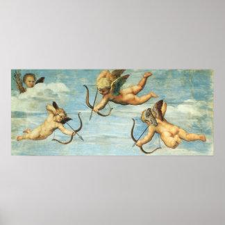 Poster Triumph de Galatea, détail d'anges par Raphael