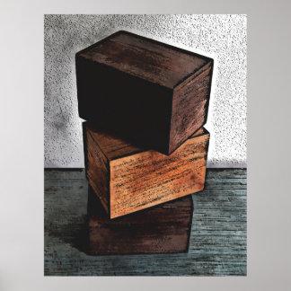 Poster Trois boîtes en bois sur la raboteuse