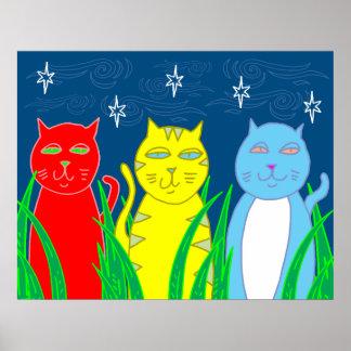Poster Trois chats pendant la nuit - art populaire génial
