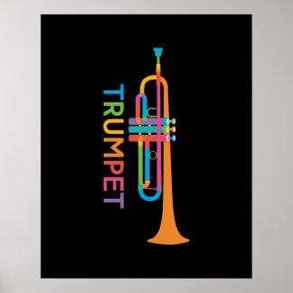 Poster Trompette vibrante dans des couleurs d'arc-en-ciel