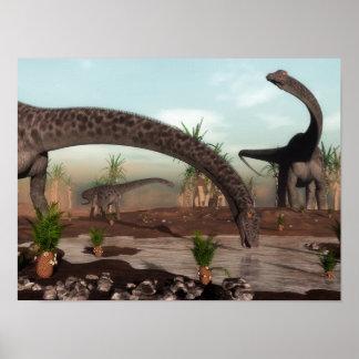 Poster Troupeau de dinosaures de Diplodocus allant boire