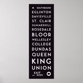 Poster TTC - Longue affiche de stations allant vers le