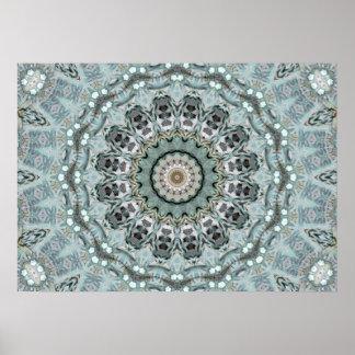 Poster Turquoise complexe et kaléidoscope gris de mandala