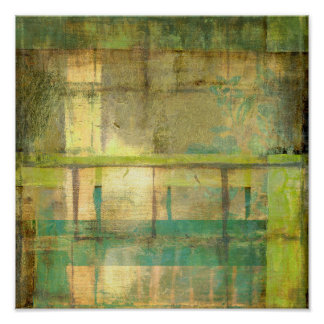 Poster Turquoise dorée et peinture abstraite de vert
