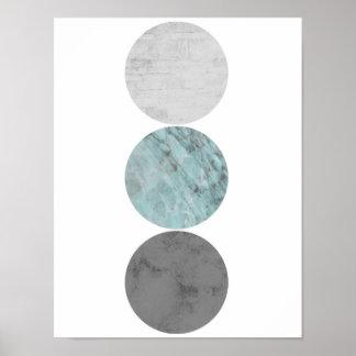 Poster Turquoise et affiche de cercles de gris