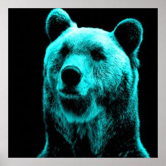 Poster Turquoise et portrait noir d'ours gris