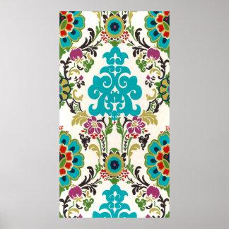 Poster Turquoise florale de prune de motifs de damassé