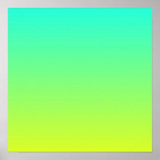 Poster turquoise jaune citron de vert de chaux d'ombre