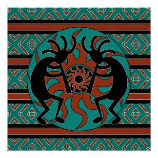 Poster Turquoise Sun tribal Kokopelli de sud-ouest