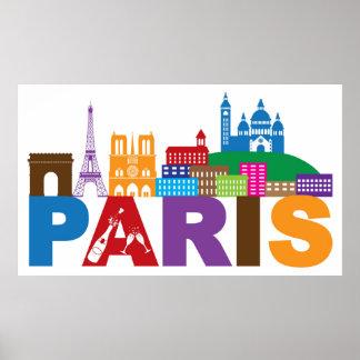 Poster Typographie colorée de Paris, France |