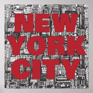 Poster Typographie de gratte-ciel de New York City  