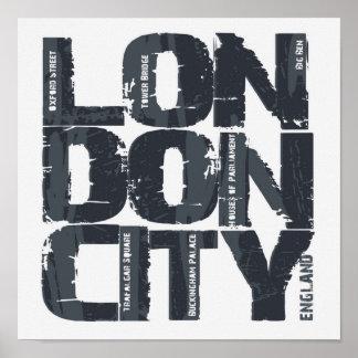 Poster Typographie de Londres, Angleterre