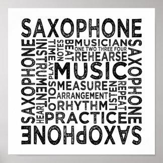 Poster Typographie de saxophone