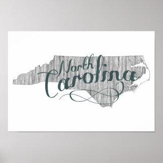 Poster Typographie d'état de la Caroline du Nord