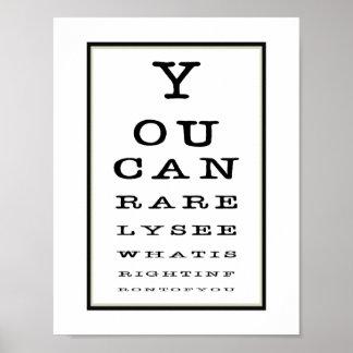 Poster Typographie drôle de diagramme d'essai d'oeil de