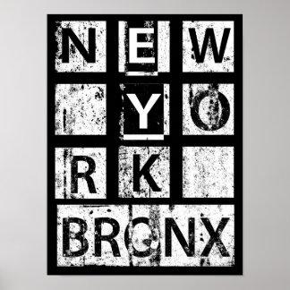 Poster Typographie grunge de Bronx New York  