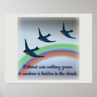 Poster Un arc-en-ciel dans les nuages, les oiseaux bleus