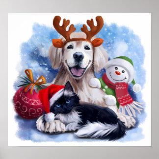 Poster Un chien, un chat et un bonhomme de neige