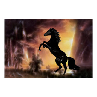 Poster Un élevage frison de cheval d'étalon