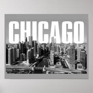 Poster Une affiche de paysage urbain de Chicago