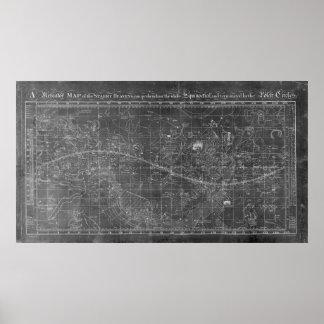 Poster Une carte de Mercator des cieux étoilés