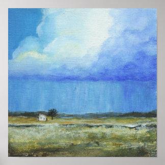 Poster Une peinture de paysage parfaite d'art abstrait de