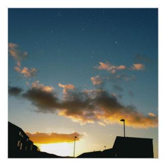 Poster Une rue couronnée avec des étoiles