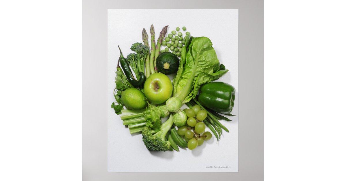 Poster une s lection des fruits et des l gumes verts - Fruits et legumes de a a z ...