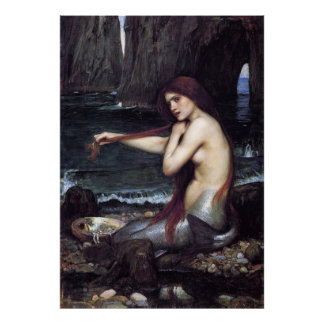 Poster Une sirène par J W WaTERHOuSE, 1901