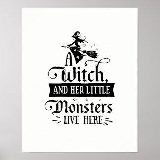 Poster Une sorcière et ses petits monstres vivent ici