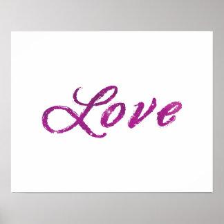 """Poster Univers rose de """"amour"""" et pourpre abstrait"""