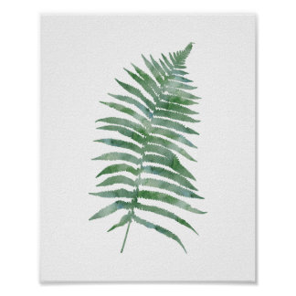 Poster Usine botanique de nature d'aquarelle de vert de