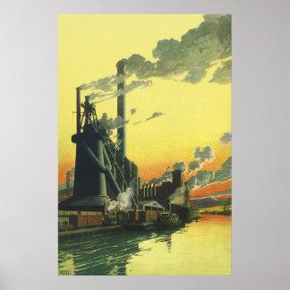 Poster Usine vintage d'affaires, fabriquant sur un dock