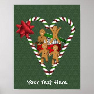 Poster Vacances de coeur de sucre de canne de bonhommes