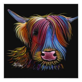 """Poster Vache des montagnes écossaise """"PODGER"""" par Shirley"""