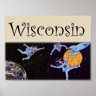 Poster Vaches à l'espace du Wisconsin