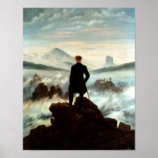 Poster Vagabond au-dessus de la mer du brouillard - Fried