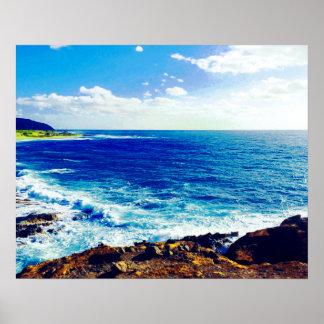 Poster Vagues tropicales de rivage d'île