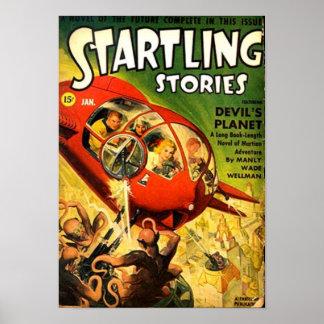 Poster Vaisseau spatial rouge minuscule