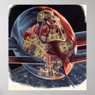 Poster Vaisseau spatial vintage de Rocket d'astronaute de