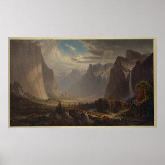 Poster Vallée de Yosemite. Après peinture par la colline