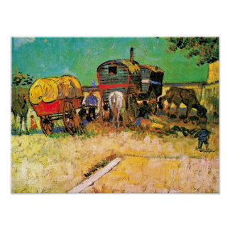 Poster Van Gogh - camp gitan avec le cheval Dray