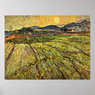 Poster Van Gogh - champ inclus avec Soleil Levant