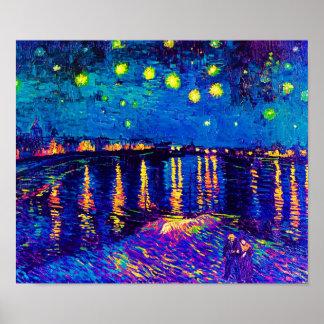 Poster Van Gogh - nuit étoilée au-dessus de l'art de