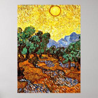Poster Van Gogh - oliviers avec le ciel jaune et le Sun